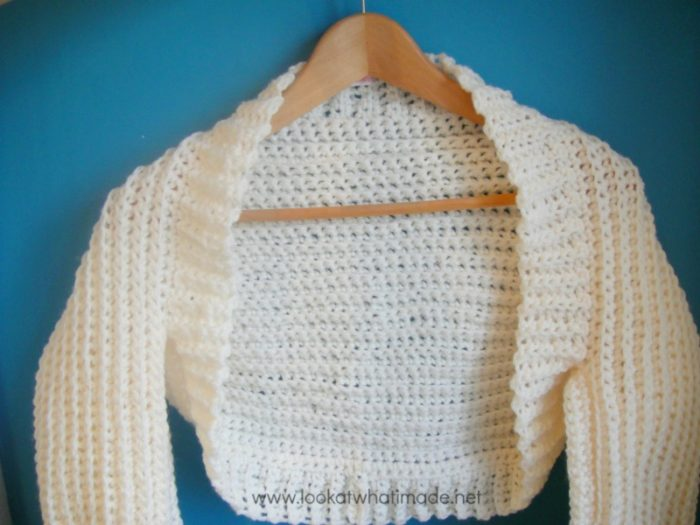 cream crochet shrug