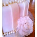 DIY 3-tier Ivory Striped Wedding Cake