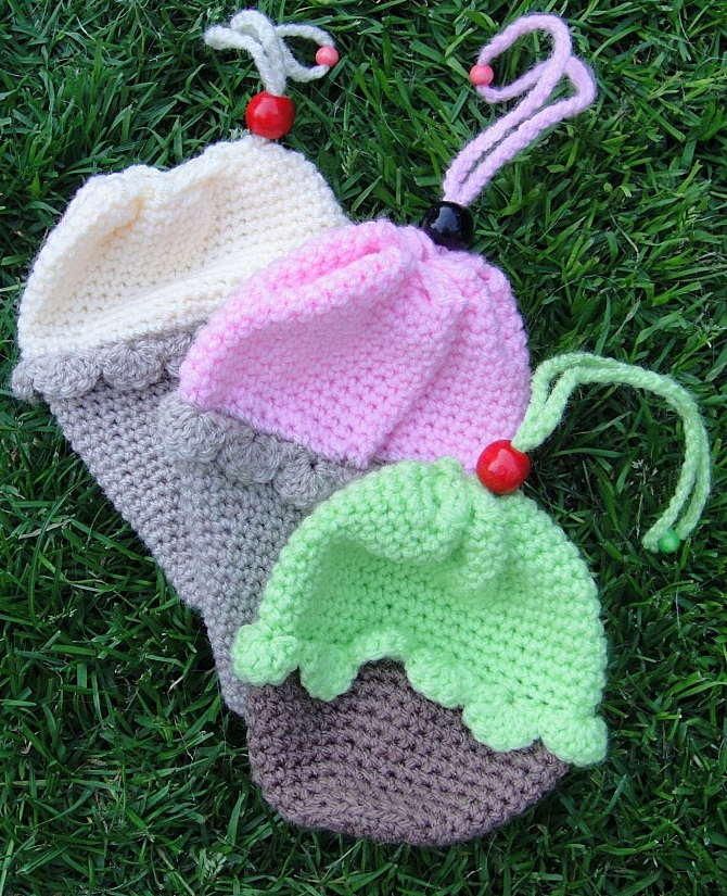 Crochet Ice-cream Cone Purse Cupcake (3)