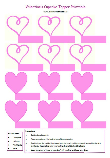 Valentine's Day Cupcake Topper Printables