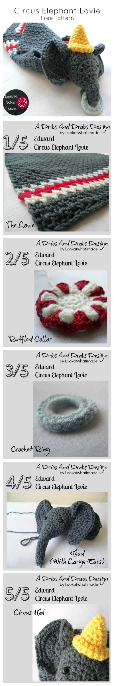 Crochet Blanket Circus Elephant Lovie
