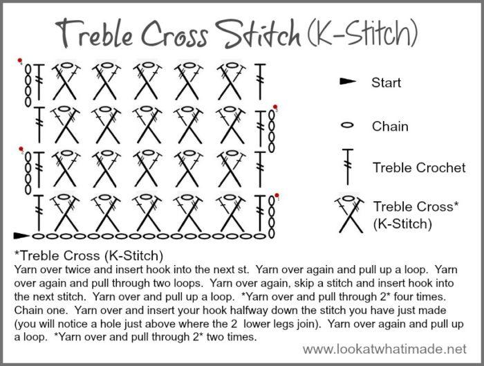 Crochet Treble Cross Stitch K Stitch