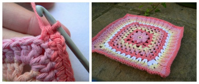 Winter Rose Crochet Square Photo Tutorial