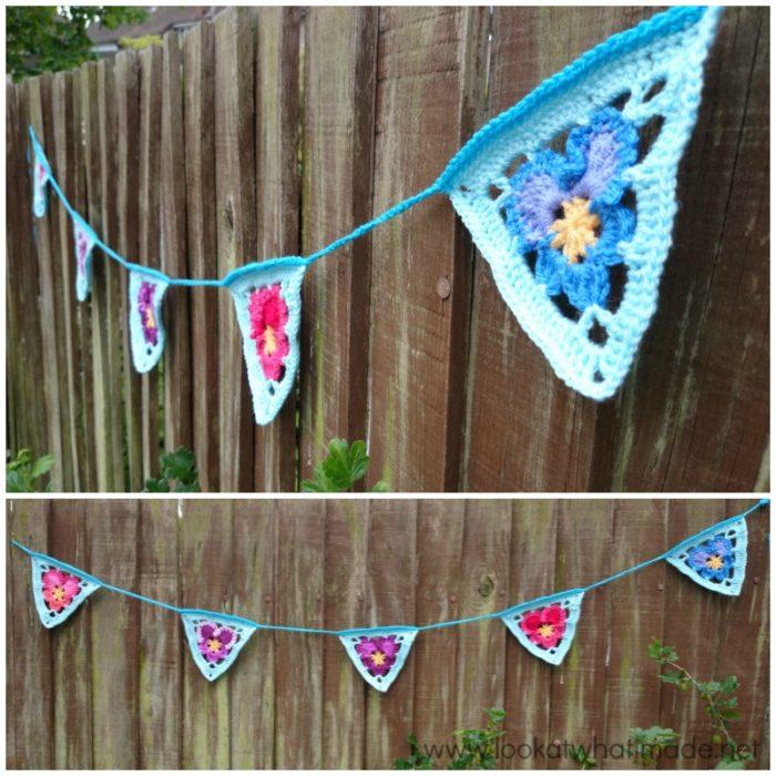 Granny's Pansy Crochet Bunting Pattern