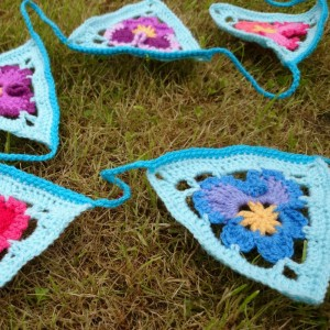 Granny's Pansies Crochet Bunting