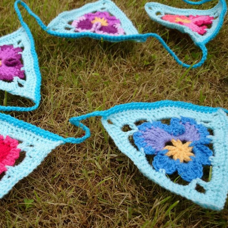 Granny's Pansies Crochet Bunting