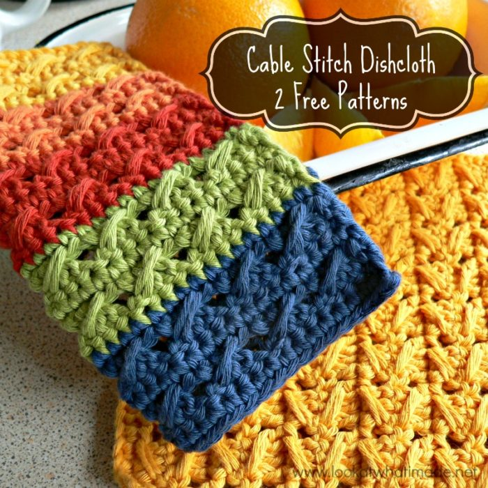 Cable Stitch Dishcloth 2 Free Patterns