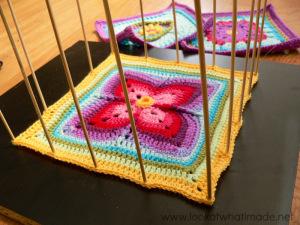Blocking Crochet Squares