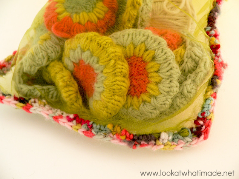 Scrap Yarn Project Crochet Organza Bag (1)