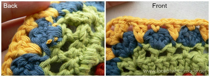 Working Away Tails of Yarn Open Work 4