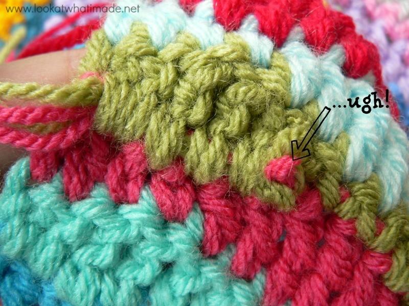 Working Away Tails of Yarn Step 4b