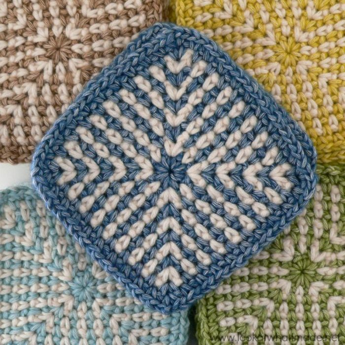 Two-colour Linen Stitch Crochet Square