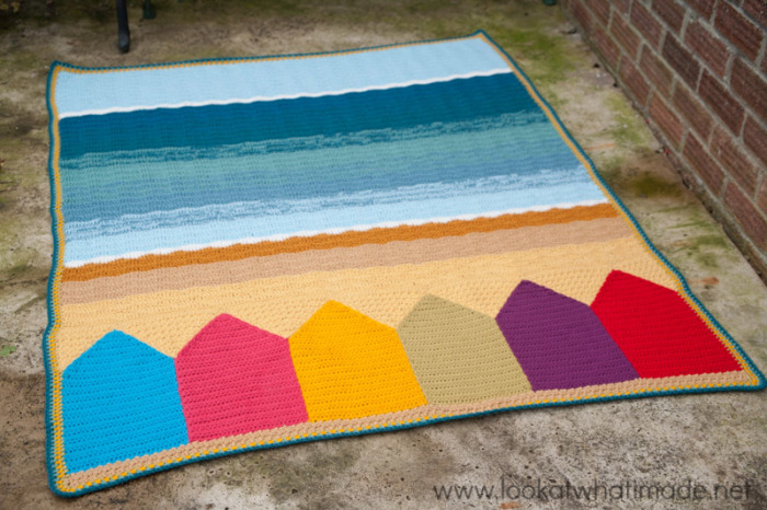 Summer in Swanage Crochet Blanket Beach Huts Seaside