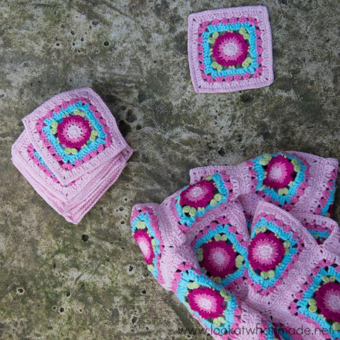 "Lydia Blanket Crochet 4"" Square"