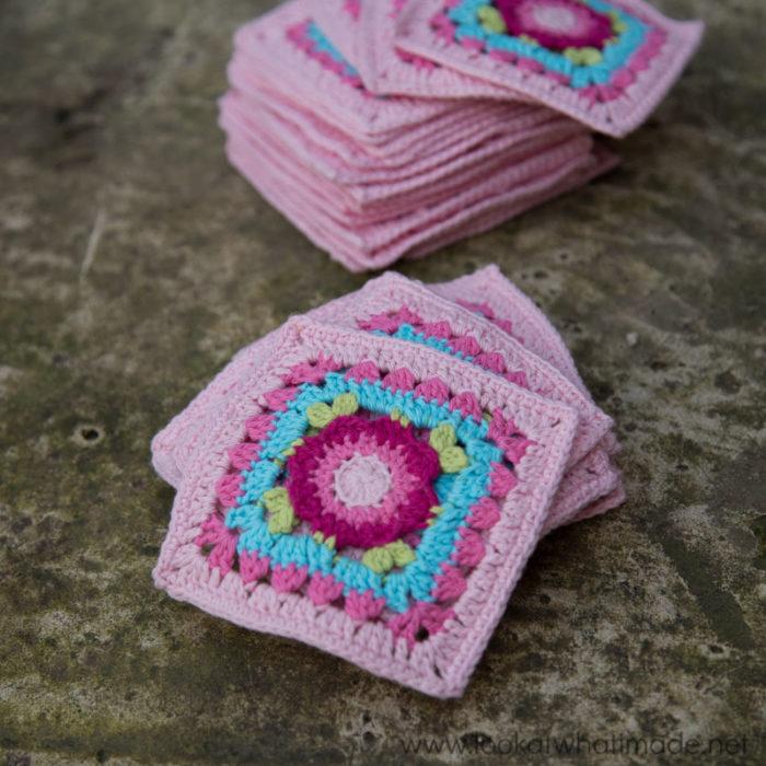 "Lydia Squares Crochet 4"" Square"