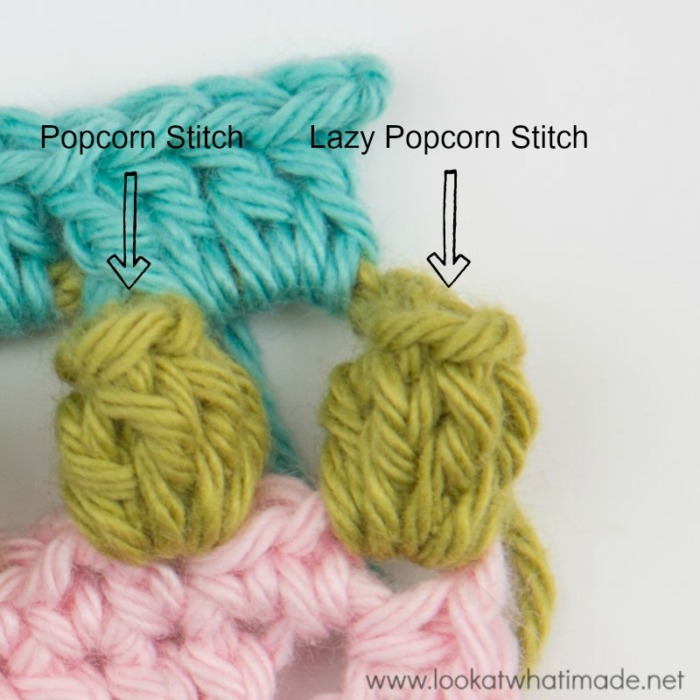 Popcorn Stitch vs Lazy Popcorn Stitch Front