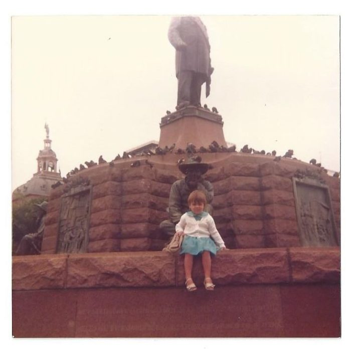 Me, aged 5, at the Paul Kruger Monument in Pretoria