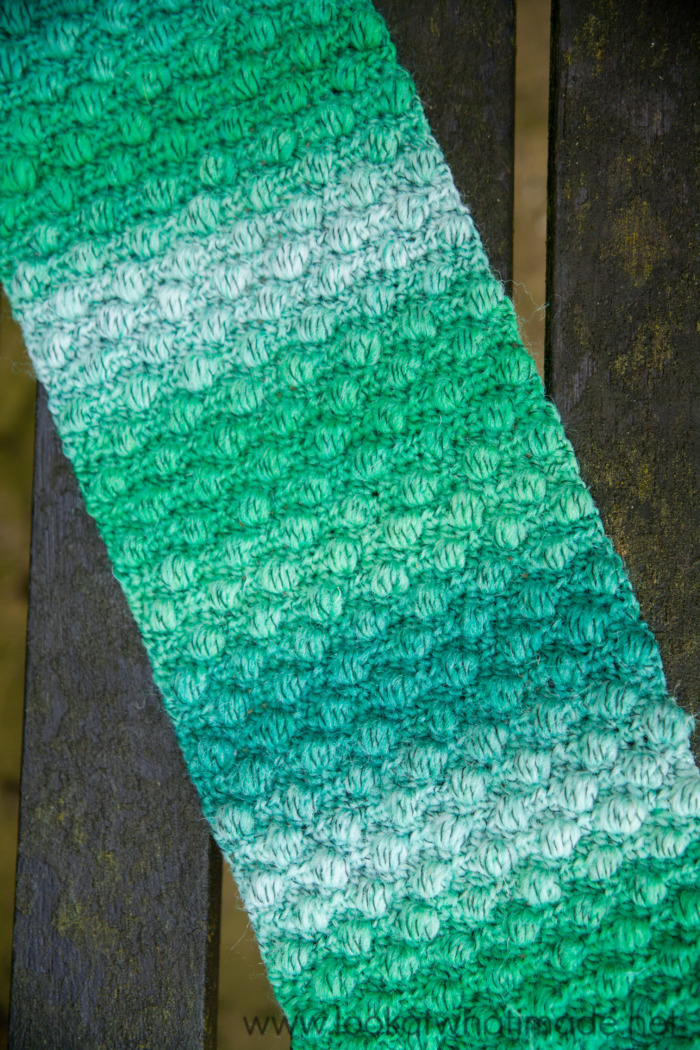 Puff Stitch Smile of Joy Scarf Pattern
