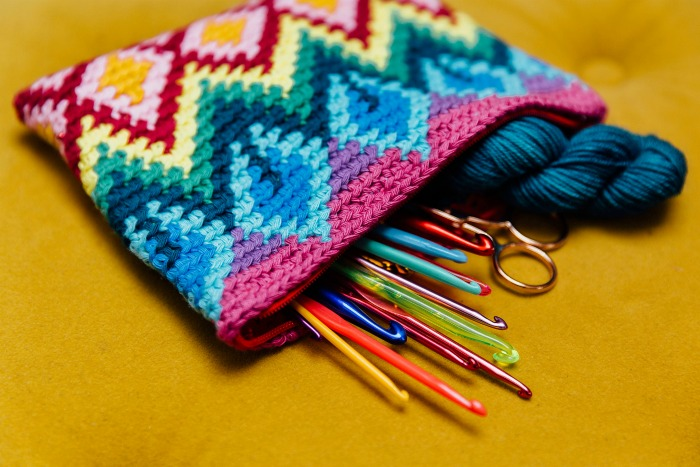 Tapestry Crochet Colourful Clutch